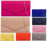 New Womens Diamante Envelope Purse Bag Clutch Bag Fashion Bridal Evening Handbag