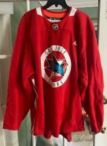 Adidas NHL San Jose Sharks Rare Pro Practice Red Jersey/Sweater J701A Size 60