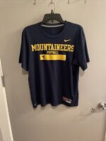 Nike West Virginia Mountaineers Shirt Adult Medium Blue Yellow WVU Football Men