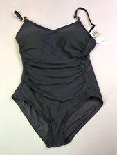 Michael Kors Gray/ Gun Metal Chain Detail One Piece Swimsuit 12
