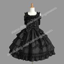 Victorian Gothic Lolita Punk Graceful Jumper Skirt Reenactment Black Dress New