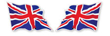 2 x UNION JACK WAVY FLAG VINYL CAR VAN IPAD LAPTOP HELMET STICKER