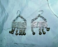 Antique Silver Earrings ethnic tribal bedouin gypsy Islamic Egyptian Zar فضة زار