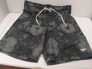 Speedo Men's Medium Gray/Black Bondi Ombre Gradient Floral Upf 50+ Board Shorts