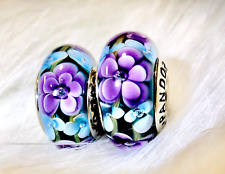 2 Authentic Pandora Silver 925 ALE Magic Purple Flower Rose Charm Beads #191A
