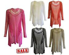 Womens Ladies Mesh Lace Crochet Butterfly Waterfall Drape Cardigan Plus Size Top