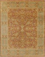 All-Over Hand-Knotted Rust Wool Agra Floral Oriental Area Rug Living Room 8x10