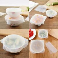 6PCS Stretch Silicone Bowl Reusable Food Saver Wraps Cover Insta Seal Lids UK