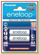 2 Eneloop Panasonic Pile Batterie Ricaricabili STILO AA 1900/2000mAh 2100 cicli