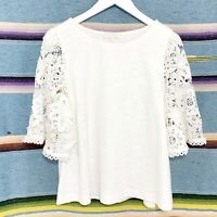 Anthropologie Top Size Small White 3/4 Bell Sleeves Crochet Lace Samara Floral