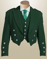 Green Prince Charlie Jacket & Waistcoat by Scottish Kilt | Made To Measure