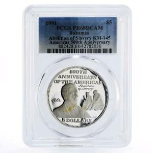 Bahamas 5 dollars Abolition of Slavery by A. Lincoln PR68 PCGS silver coin 1991