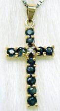 SYJEWELLERY LOVELY 9CT YELLOW GOLD BLACK SAPPHIRE & DIAMOND CROSS PENDANT   P919