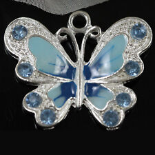 Lots 5Pc Silver Plated Enamel Crystal Rhinestone Butterfly Charm Pendant 22x20mm