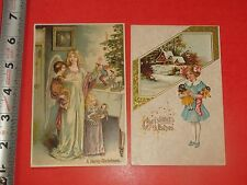 JD753 Vintage LOT of 2 Christmas Postcards Toys Doll Tree Angel Puppet Clock