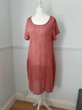 Italian cotton coral and black striped dress, beach dress, UK 10,12,14,16