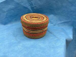 Vintage Rattan Woven Basket Lidded Mid Century