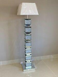 Mirrored Floor Lamp Crushed Crystal Crush Diamond Geometric Floor Standard Lamp