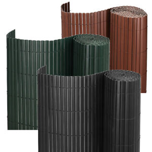 3m/5m Bamboo Effect Garden Screening PVC Fence Double Side Privacy Panel Roll UK