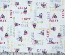 Clothworks Hullabaloo Birthday Cakes Light Aqua Fabric