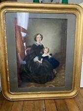 Grand Portrait De Femme Et Jeune Fille XIX Eme