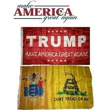 3x5 Donald Trump Red & New Jersey Gadsden Wholesale Flag Set 3'x5'