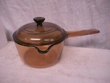 Vision Corning Sauce Pan Pot w Pour Spout 1L Liter Amber Glass Cookware & Lid