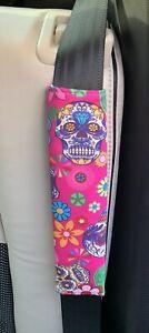💜💀🌸 Pink Funky Skulls Car Seat Belt Pad 🌸💀💜