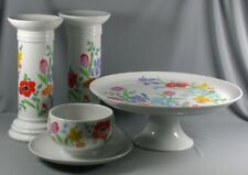4 Pc Heinrich H & C Primavera Poppy - Cake Plate, Gravy Boat, Candlesticks