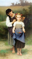 """Dream-art art Oil painting Bouguereau - Crown of Flowers Young girls sisters 36"""""""