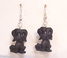 """NEW Black Sad Lonely Puppy Dogs Puppies 1"""" Mini Figures Dangle Earrings"""