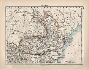 1899 VICTORIAN MAP ~ RUMANIA ~ MOLDAVIA