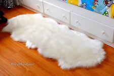 sheepskin rug 2' x 5' white furry throw area rug nursery room carpet rug baby