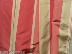 Harlequin Curtain Fabric 11.8 Metres Ruby/Rose/Gold Wide Stripe Design