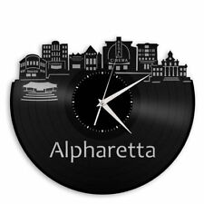Alpharetta GA Vinyl Wall Clock Art Skyline Cityscape Unique Gift Home Rome Decor