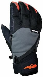 New HMK Union Gloves for Snowmobiles and Snowbiking- Black and Orange, 3XL -Sale