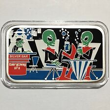 Everything UFO 1 oz 999 Silver Enameled Art Bar Collectible Ingot V3 Scarce 100
