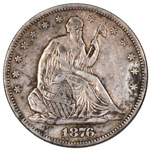 1876-S Liberty Seated Silver Half Dollar 50C - AU Scratched -