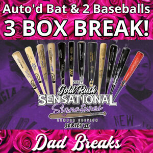 KANSAS CITY ROYALS 2021 Gold Rush Signed Bat + 2 TriStar Baseballs: 3 BOX BREAK
