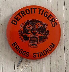 "Vintage DETROIT TIGERS Button Pin Baseball Team Briggs Stadium 1.75"""