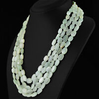 DG 575.00 CTS NATURAL 5 LINE RICH GREEN AQUAMARINE ROUND BEADS NECKLACE