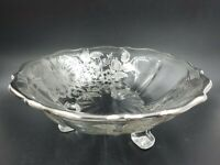 Vintage Sterling Silver Overlay 3 Footed Glass Scalloped Bon Bon Candy Bowl Dish