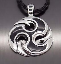 "Men Silver Black Wheel Blade Women Amulet Pewter Pendant with 20"" Free Necklace"
