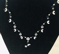 Black White Glass Stones Rhinestone Choker Necklace Gunmetal J477