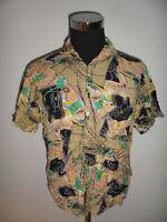 vintage 80s Hemd crazy muster shirt für new wave 80er Jahre party oldschool L(M)