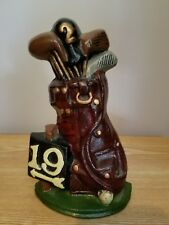 Cast Iron 19th Hole Golf Clubs Bookend Door Stop