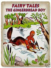 Fairy tale ginger bread boy METAL SIGN Nursery vintage style kids wall decor 208
