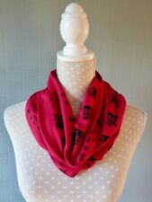 Red jersey snood asian design cowl scarf stretch loop neck warmer scarf