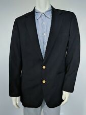 42L John Clarendon Wool Blazer Black Gold Buttons Made in USA Jacket/Sport Coat