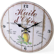 *OLIVE OIL * Round Wall Clock, Rustic Style, birthday, Gift, 34cm